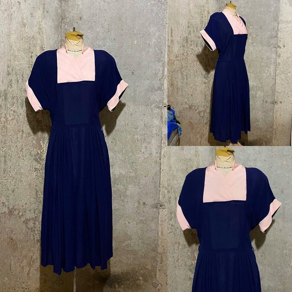 1940s Navy Blue and Pink Dress