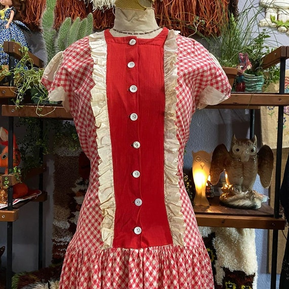 1930s Red and White Gingham Drop Waist Dress - image 3