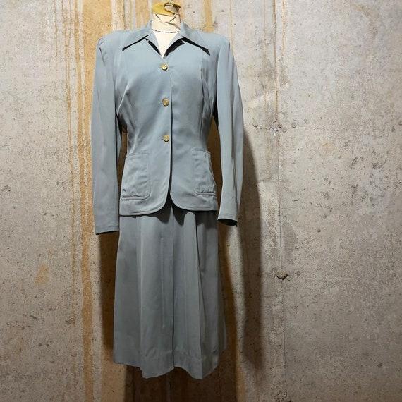 1940s Steely Blue Gab Dress Set
