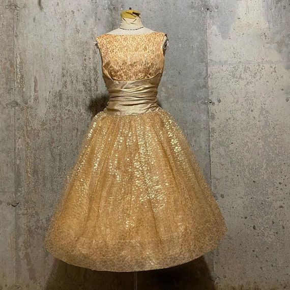 1950s Gold Floral Lace and Lurex Party Dress