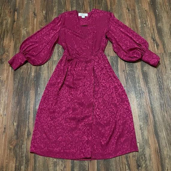 1980s Magenta Silk Brocade Bishop Sleeve Oversized