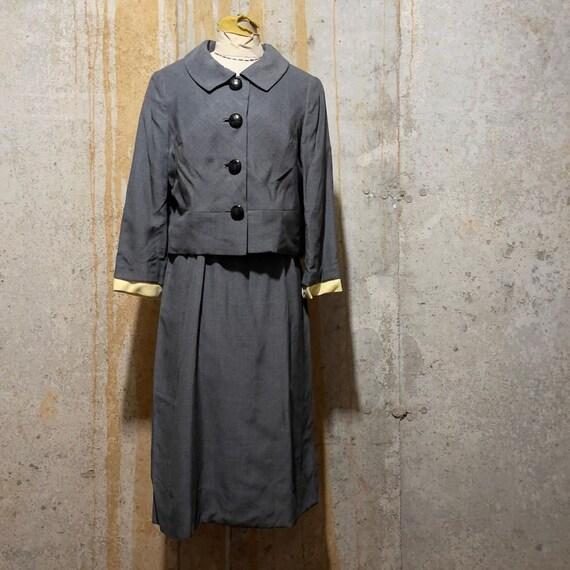 1950s grey and yellow dress set