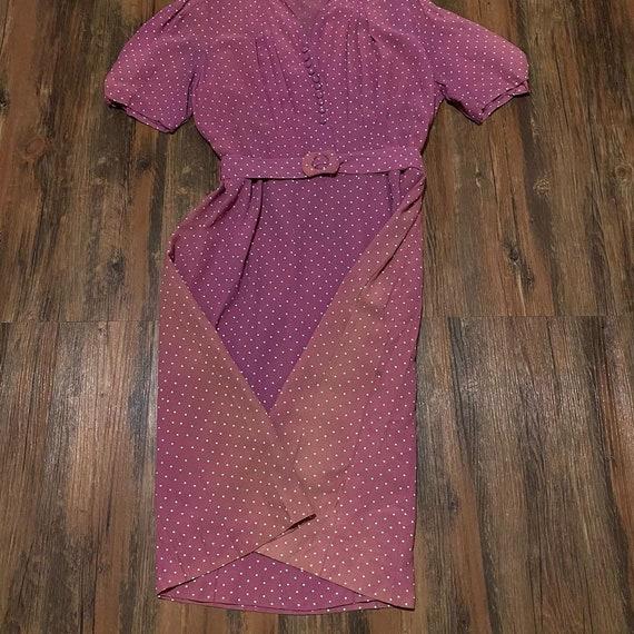 1930s mauve polkadot dress - image 7