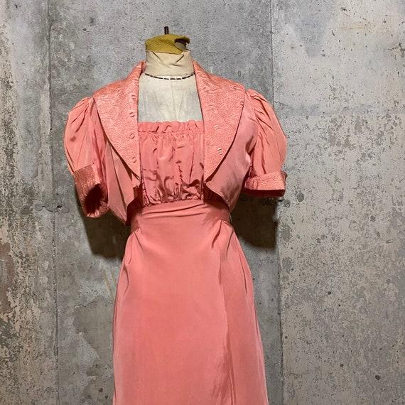 1930s Pink Maxi Dress With Matching Bolero - image 5