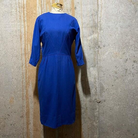 1960s cobalt blue sheath dress