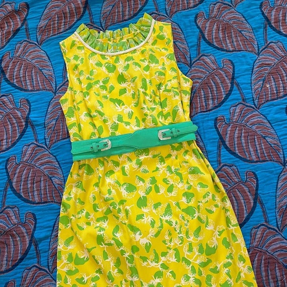 1960s bright yellow and green strawberry print max