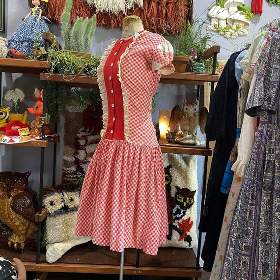 1930s Red and White Gingham Drop Waist Dress - image 2