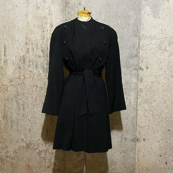 1930s 1940s Black Princess Coat With Deco Buttons
