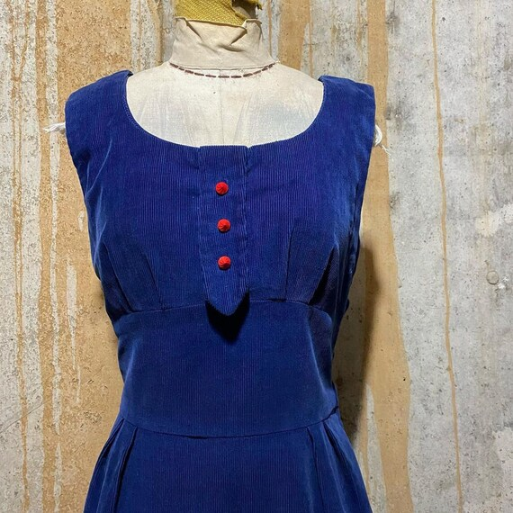1940s 1950s Blue Corduroy Sheath Dress With Red Bu