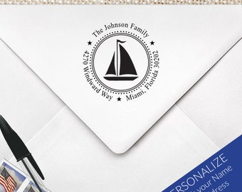 Custom Personalized Address Rubber Stamp, Personalized Wedding RSVP Sailboat Stamp, Nautical Address Stamp, Sailboat Stamp, Nautical   MS-R6