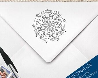 Mandala Return Address Stamp, Coloring Mandala Stamp, Colorful Mandala, Geometric Coloring, DIY Coloring Mandala, ZenTangle Stamp, MS-R24