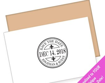 Fleur de lis Save the Date Stamp, French Wedding Stamp, Wedding Stamp, French Stamp, Fleur de lis stamp, Custom Save the Date Stamp WS1