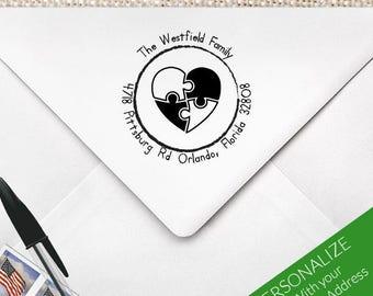 Autism Awareness Address Stamp, Autism Support, Autism Puzzle, Recognizing The Spectrum, Puzzle Pieces Stamp, Autism Gift   MS-R63