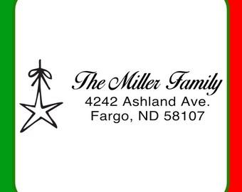Holiday Address Stamp, Christmas Address Stamp, Star Ornament Holiday Stamp, Holiday Theme Address Stamp, Family Name Stamp, Ornament Stamp