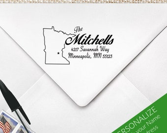 Minnesota Address Stamp, Return Address Stamp, Minnesota Stamp, Minnesota Gift, Twin Cities Stamp, Midwest Stamp   MS-REC-27