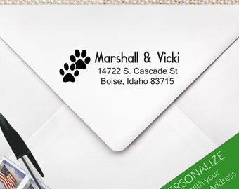 Dog Print Address Stamp for Couples, Paw Print Stamp, Paw Print Address Stamp, Dog Print Stamp, Dog Lover Stamp, Dog Stamp   MS-REC-24