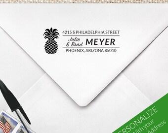 Pineapple Address Stamp, Pineapple Hospitality Return Address Stamp, Wedding Address Stamp, Pineapple closing housewarming gift   MS-REC-25