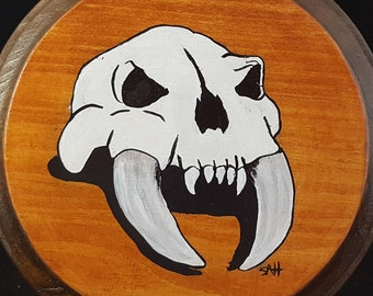 Barbarian Skull painting on wood