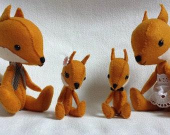 Felt fox - miniature - doll - pocket toy - interior decoration - family keepsake - safety eyes - goldenrod