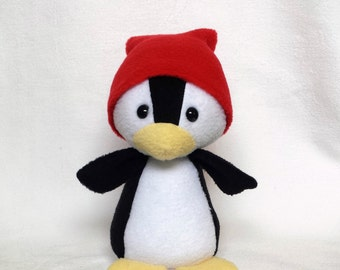 Plush penguin, polar penguin black white red, penguin red cap, safety eyes