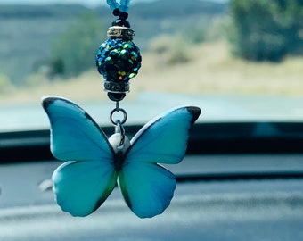 Blue Turquoise Butterfly Medium Side view Cabochon Pair backed Sonora