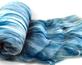 "Merino Bamboo, spinning fiber batt, hand dyed, teal, green, Drum carded smooth, art batt, spinning wool, Colorway ""Sweet Teal""  4 oz."