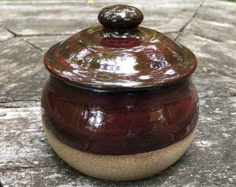 Red Covered Jar, Ceramic Jar, Stoneware Jar, Tea Holder, Jewelry Holder, Sugar Bowl