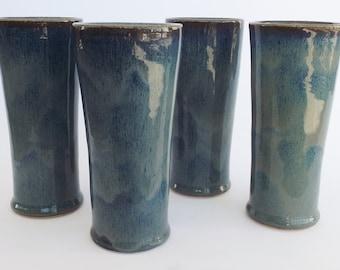 4 Piece Tumbler Set, Blue Tumbler Set, Tumblers, Blue Tumblers, Blue Ceramic Tumbler Set, Ceramic Tumbler Set, Pottery Tumbler Set,Blue Cups