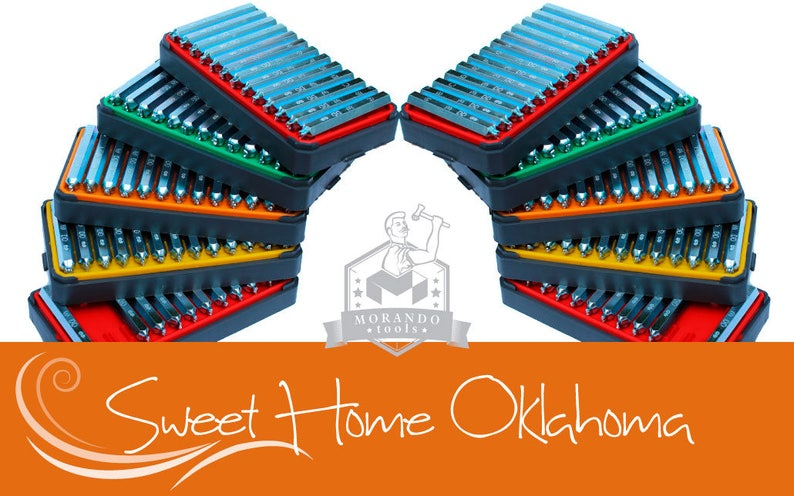 Professional tool Stamps Sweet Home Oklahoma font STAMPS,Complete Set. Different Sizes Option ;