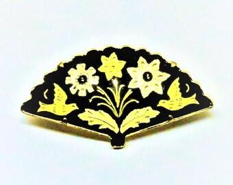 Damascene Brooch - Vintage, Gold Tone, Black Enamel, Floral Pin