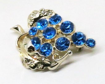 Blue Brooch - Vintage, Gold Tone, Blue and Clear Rhinestones, Grape Cluster Pin