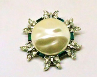 Pearl Brooch - Vintage, Silver Tone, Baroque Imitation Pearl, Green and Clear Rhinestone, Pin