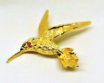 Hummingbird Brooch - Vintage, Gold Tone, Clear and Red Rhinestones Pin