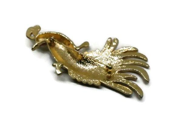 Pfau Brosche Vintage, Gold Ton, Strass und Emaille Pin