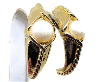 Dramatic Pearl Earrings - Vintage, Gold Tone, Shield Design, Vikings Style, Imitation Pearls, Clip-on, Gift for Her