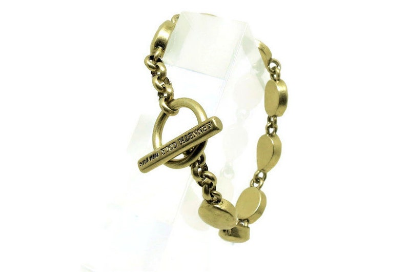 Bold Vintage Kenneth Cole Signed Bracelet Gifts for Her Brass Tones Toggle Clasp Smooth Links