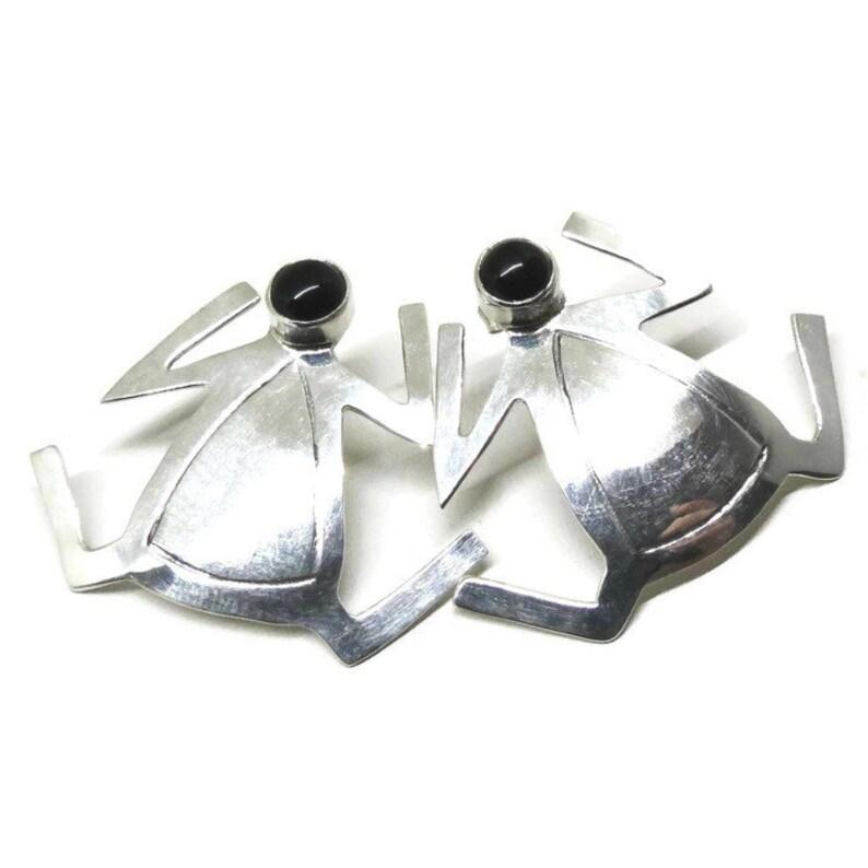 Pierced Earrings Navajo Earrings Vintage Sterling Silver Ramona Guerro Signed Black Onyx