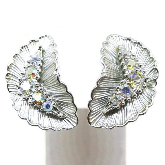 pierced earrings bridal set Bridesmaid gift silver tone metal STUNNING Vintage Aurora Borealis Rhinestone Necklace and Earring Set