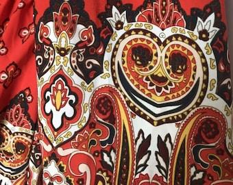 Vintage Bohemian Orange Dress GB Gianni Bini Criss Cross Front with Tassels