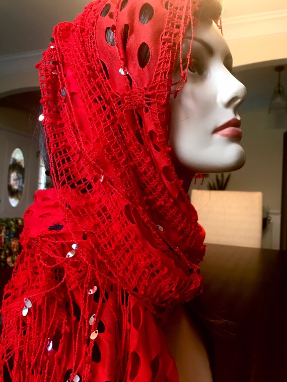 Unique Multi Layered Red Scarf with Sequins and Ne