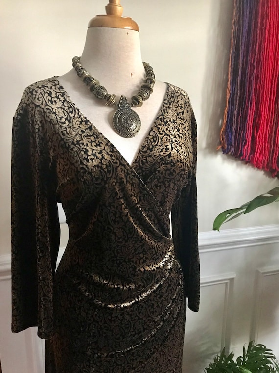 Vintage Velvet Autumn Dress Brown & Gold Autumn