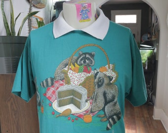 Amazing Novelty Front and Back Print Raccoon Picnic Collared T-Shirt
