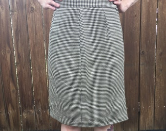 Vintage Houndstooth-esque Print Pencil Skirt Small