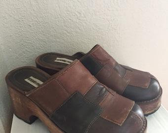 970ef9730cb Vintage Steve Madden 90s Chunky Leather Patchwork Clogs Size 8