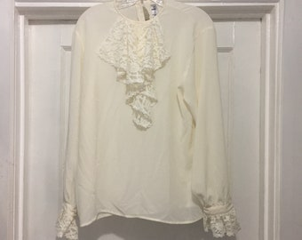 bbb0496d85ae39 Vintage Sheer Ruffle Blouse By Rafaella Size 12 100% Polyester