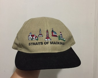 c5584e288c1b2 Vintage Straits of Mackinac Two Tone Hat One Size Fits All