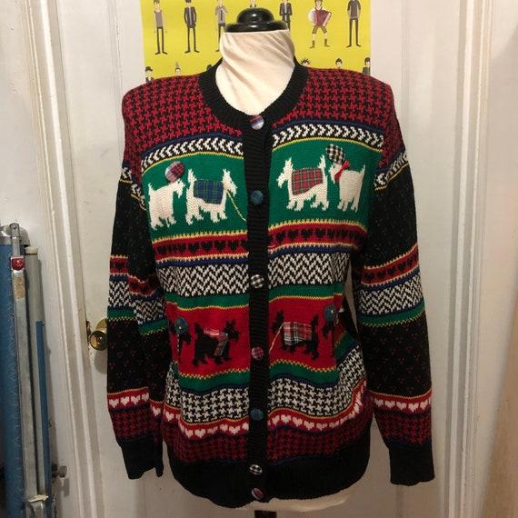 Knit Cardigan Women Medium Zip Up Sweater Jacket with Scottie Dog Applique Holiday Novelty Ramie Cotton Susan Bristol Vintage Clothing