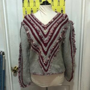 ethnic vneck Vintage PINK VELVET Sweater Pullover..medium indie ladies womens fushia kitsch urban 90s clothing large clueless