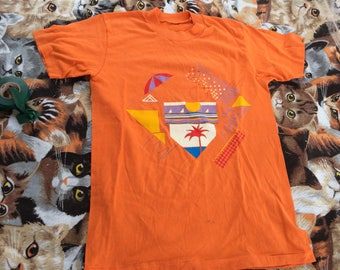 Vintage 80s Orange Women's Screenprinted Tee shirt