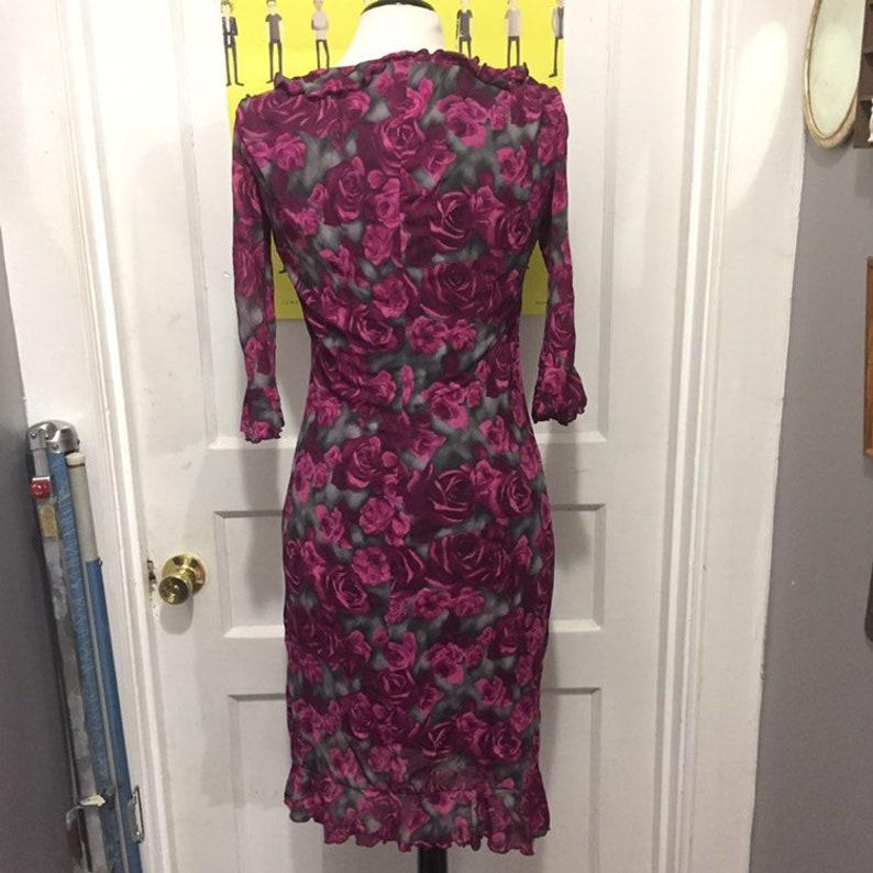 Vintage 90s Floral Frilly Dress By La Belle